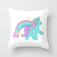 my little pony Throw Pillows featuring My Little Pony Unicorn by lolia