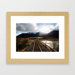 Railway over Waimakariri River Framed Art Print