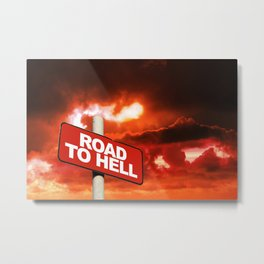 Road to hell sign Metal Print