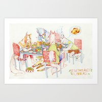 vegetarian Art Prints featuring Vegetarian Werewolves by chechula