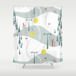 Retro Ski Shower Curtain