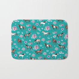 Horse Pattern, Floral Print, Turquoise, Little Girls Room, Horses Bath Mat