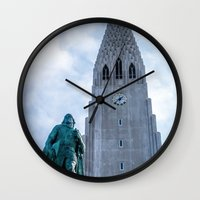 iron giant Wall Clocks featuring Járn Risastór (Iron Giant) by Alex Tonetti Photography