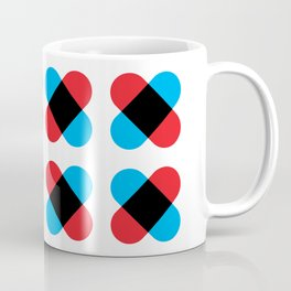 Geometric Pattern 157 (Red Blue Cross) Coffee Mug