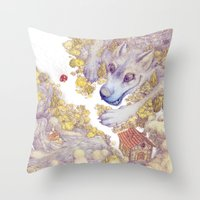 red riding hood Throw Pillows featuring Lttle Red Riding Hood by Pictographe