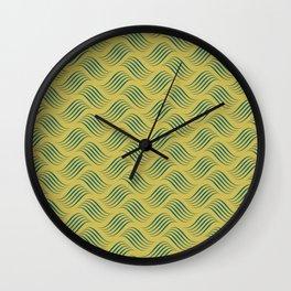 Dark Yellow and Turquoise Wavy Tessellation Line Pattern Sherwin Williams Trending Colors of 2019 Oceanside Dark Aqua Blue SW 6496 Wall Clock