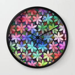 Tropical Rainbow Daisies Wall Clock