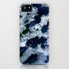 Oceans - Encaustic painting (blue, green, silver) iPhone Case