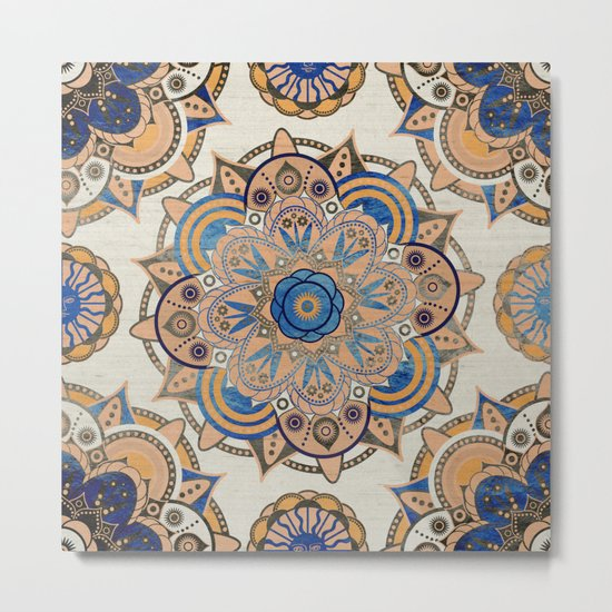 Blue and Gold Mandala Metal Print