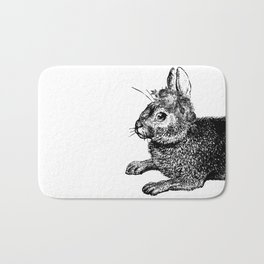 The Rabbit and Roses | Black and White Bath Mat