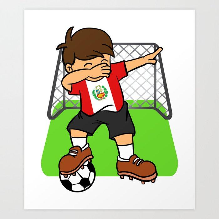 bfbf31acbb9 Peru Soccer Ball Dabbing Kid Peruvian Football Goal Art Print by ...