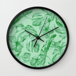 Green Jungle Island Tropical Palm Garden Wall Clock