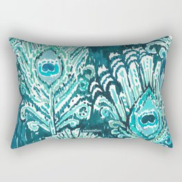 PEACOCKY - TEAL Rectangular Pillow