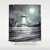 ufo Shower Curtains featuring Whaling UFO by Bakus