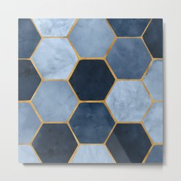 Winter Palace / blue and gold geometric design Metal Print