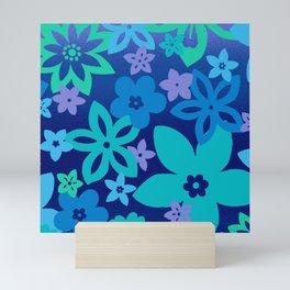Blue Stencil Flowers Mini Art Print