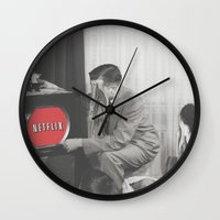 netflix Wall Clocks featuring 10 Minutes into Netflix n Chill by Cale potts Art