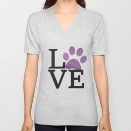 Love is a Four Letter Word - purple paw Unisex V-Neck