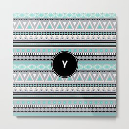 Monogram Tribal Pattern *Y* Metal Print