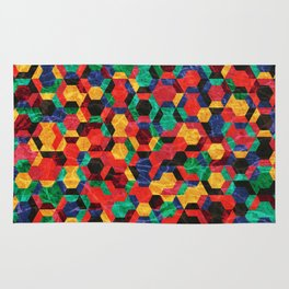 Colorful Half Hexagons Pattern #03 Rug