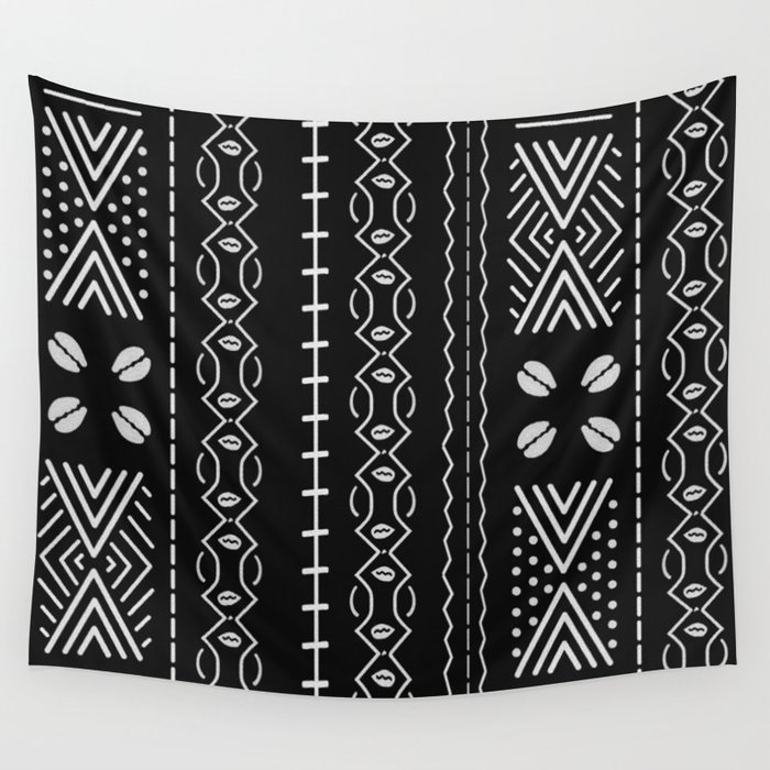 Black mudcloth with shells Wall Tapestry