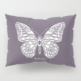 Butterfly White on Purple Background Pillow Sham