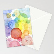 Watercolor Abstract Rainbow Circles and Splatters Stationery Cards