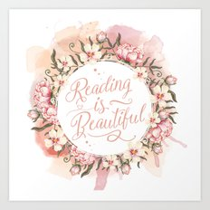 Reading is Beautiful floral wreath Art Print