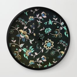 Classic vintage teal pink green bohemian floral Wall Clock