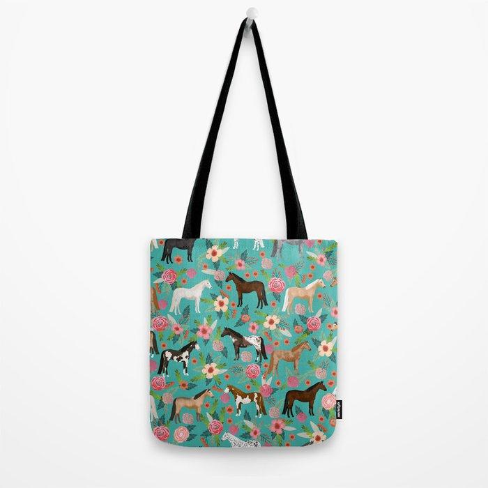 Horses floral horse breeds farm animal pets Tote Bag