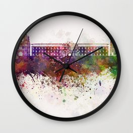 Dijon skyline in watercolor background Wall Clock