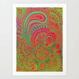 Kukat, red/green Art Print