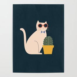 Cute, fun cat with a cactus plant on dark background Poster