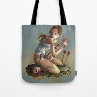 megan lara Tote Bags featuring Lara by poopbird