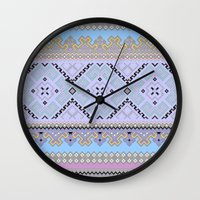 ukraine Wall Clocks featuring Colorful Ukraine ornaments by blackwhitehotos