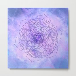 Waterolor Mandala FLower Metal Print