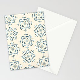 Portuguese tile style ornamental pattern - blue on cream Stationery Cards