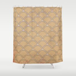 Abstract large scallops in iced coffee with texture Shower Curtain