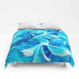 Stylized flowers in blue Comforters