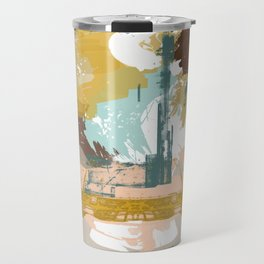 Suspicious Actions, Abstract Landscape Art Travel Mug
