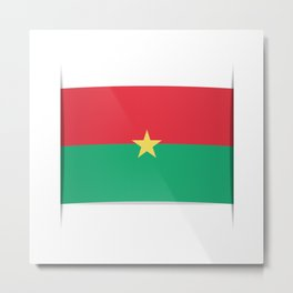 Flag of Burkina Faso. The slit in the paper with shadows. Metal Print