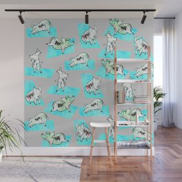 Aqua Yoga Pigs - Downward Facing Hog Wall Mural