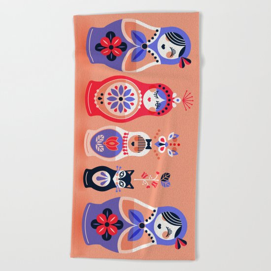 Russian Nesting Dolls – Pink & Lavender Beach Towel