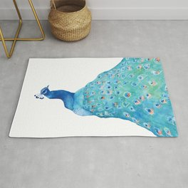 Peacock, teal bird, watercolor painting, home decor Rug