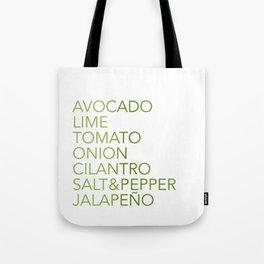 Guacamole Recipe Typography Tote Bag