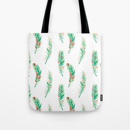 Watercolour Feathers - Greenery and Copper Tote Bag