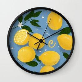 Lemons Citrus Art Print - Blue Wall Clock