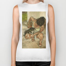 Girl Playing with Puppy Dog Impressionist Oil Painting Biker Tank