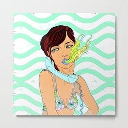 Sexy Girl Toking Up Illustration Metal Print
