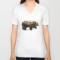 andreas preis V-neck T-shirts featuring Arctic Grizzly Bear by Andreas Lie